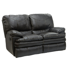 Catnapper Perez Leather Reclining Loveseat in Steel with Power Option