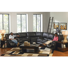 Catnapper Perez Leather Reclining Sectional in Steel with Power Option