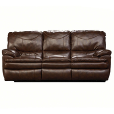 Catnapper Perez Leather Reclining Sofa in Chestnut with Power Option