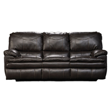 Catnapper Perez Leather Reclining Sofa in Steel with Power Option