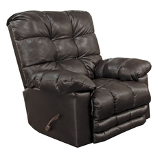 Catnapper Piazza Leather Rocker Recliner with X-tra Comfort Footrest in Chocolate