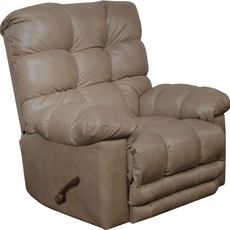 Catnapper Piazza Leather Rocker Recliner with X-tra Comfort Footrest in Smoke
