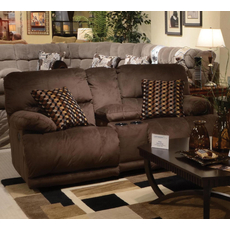 Catnapper Riley Reclining Console Loveseat in Coffee with Storage and Power Option