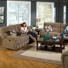Catnapper Siesta Lay Flat Reclining Loveseat in Porcini with Power Option