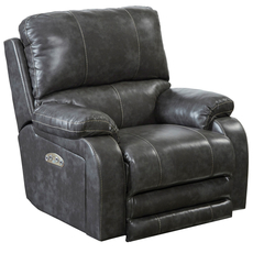 Catnapper Thornton Power Lay Flat Recliner with Power Headrest in Steel