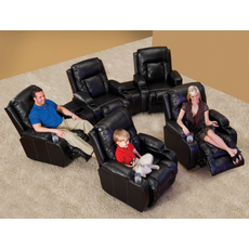 Catnapper Top Gun Curved Leather Theater Seating in Black with Multiple Seat and Power Options