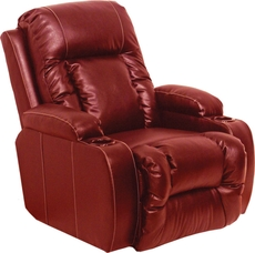 Catnapper Top Gun Curved Leather Theater Seating in Red with Multiple Seat and Power Options