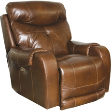 Catnapper Venice Leather Power Recliner with Power Headrest in Chestnut