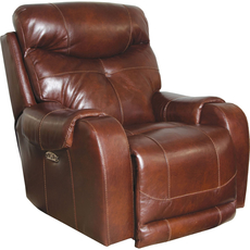 Catnapper Venice Leather Power Recliner with Power Headrest in Walnut