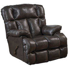 Catnapper Victor Leather Chaise Rocker Recliner in Chocolate