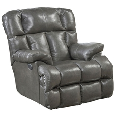 Catnapper Victor Leather Power Lay Flat Chaise Recliner in Steel