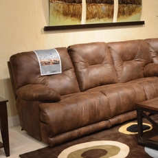Catnapper Voyager Lay Flat Reclining Sofa in Elk with Power Option