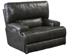 Catnapper Wembley Leather Lay Flat Recliner in Steel