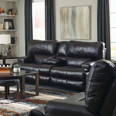 Catnapper Wembley Leather Lay Flat Reclining Console Loveseat in Chocolate