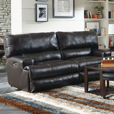 Catnapper Wembley Leather Lay Flat Reclining Sofa in Chocolate
