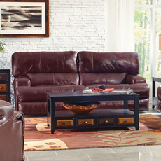 Catnapper Wembley Leather Lay Flat Reclining Sofa in Walnut