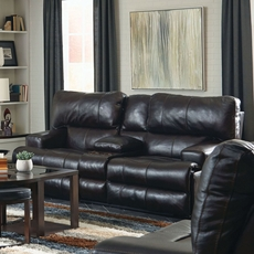 Catnapper Wembley Leather Power Lay Flat Reclining Console Loveseat with Power Recline and Power Headrest in Chocolate