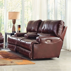 Catnapper Wembley Leather Power Lay Flat Reclining Console Loveseat with Power Recline and Power Headrest in Walnut