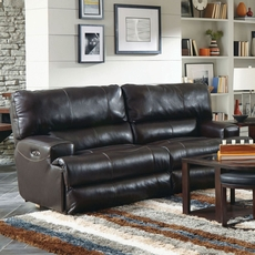 Catnapper Wembley Leather Power Lay Flat Reclining Sofa with Power Recline and Power Headrest in Chocolate