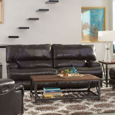 Catnapper Wembley Leather Power Lay Flat Reclining Sofa with Power Recline and Power Headrest in Steel