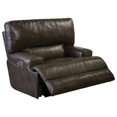 Catnapper Wembley Leather Power Lay Flat Recliner with Power Headrest in Chocolate