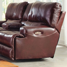 Catnapper Wembley Leather Power Lay Flat Recliner with Power Recline and Power Headrest in Walnut