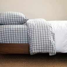 CIMINO HOME Gingham Ash Grey Twin Sheet Set