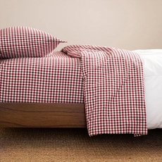 CIMINO HOME Gingham Chili Cal King Sheet Set