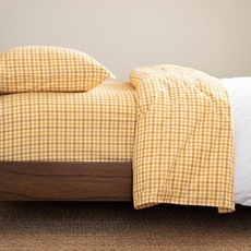 CIMINO HOME Gingham Flax Cal King Sheet Set