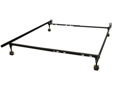 Classic Brands Hercules Standard Adjustable Metal Bed Frame with 4-Locking Rug Rollers
