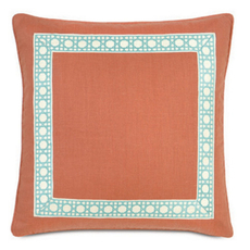 Capri Breeze Tangerine with Border and Welt Accent Pillow by Eastern Accents