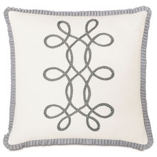 Edith Baldwin White with Braid and Ribbon Accent Pillow by Eastern Accents