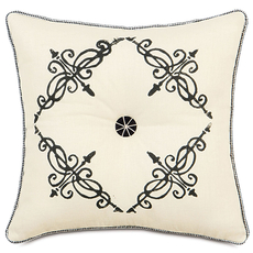 Evelyn Breeze Pearl Tufted Block-Print Accent Pillow by Eastern Accents