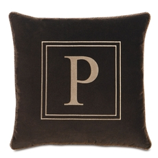 Powell Jackson Brown with Monogram Accent Pillow by Eastern Accents