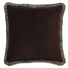 Powell Jackson Brown with Brush Fringe Accent Pillow by Eastern Accents