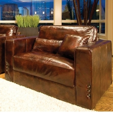 Elements Laguna Leather Accent Chair in Saddle