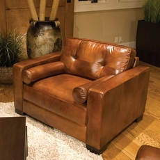 Elements Soho Leather Standard Accent Chair in Rustic