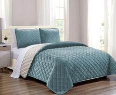 Clearance Hallmart 3 Piece Velvet King Coverlet Set in Teal OVLB0818127