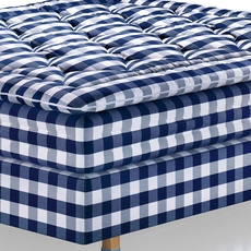 King Hastens Proferia Blue Check Continental Bed with Medium Coil Tension