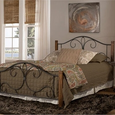 Hillsdale Furniture Destin Queen Metal Bed with Oak Posts