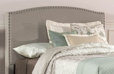 Hillsdale Furniture Kerstein Fabric Upholstered Headboard with Bed Frame in Dove Gray Queen Size