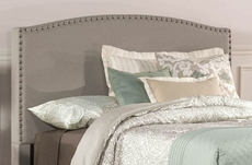 Hillsdale Furniture Kerstein Fabric Upholstered Headboard with Bed Frame in Dove Gray Twin Size