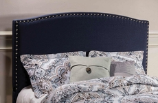 Hillsdale Furniture Kerstein Fabric Upholstered Headboard with Bed Frame in Navy Linen Full Size