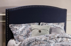 Hillsdale Furniture Kerstein Fabric Upholstered Headboard with Bed Frame in Navy Linen King Size