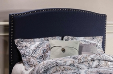 Hillsdale Furniture Kerstein Fabric Upholstered Headboard in Navy Linen Queen Size