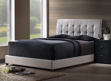 Hillsdale Furniture Lusso Bed with White Faux Leather Queen Size