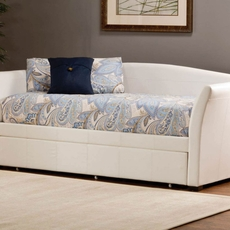 Hillsdale Furniture Montgomery White Faux Leather Daybed with FREE Trundle - Closeout!