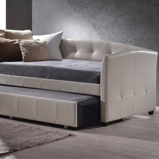 Hillsdale Furniture Napoli Ivory Faux Leather Daybed with FREE Trundle - Closeout!