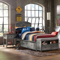 Hillsdale Furniture Urban Quarters Panel Storage Bed with Footboard Bench Twin Size