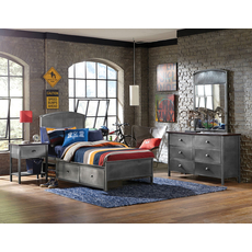 Hillsdale Furniture Urban Quarters 4 Piece Panel Storage Bedroom Set with Footboard Bench